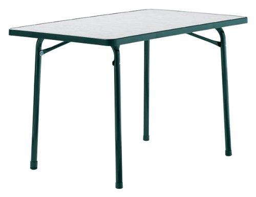 Sieger 120/S Garten-Klapptisch, 115 x 70 cm, Stahlrohrgestell smaragdgrün, Mecalit-Pro-Tischplatte Marmordekor weiß, Tischhöhe ca. 72 cm