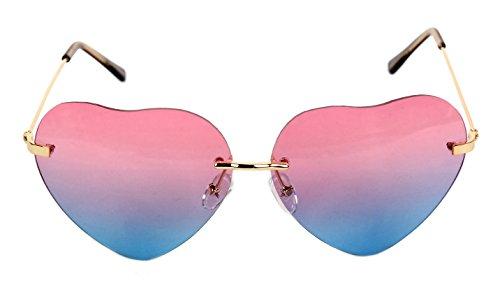 Women's Heart Shaped Rimless Sunglasses Pink to Blue Gradient Lens Unique Tortoise Arms AS-36