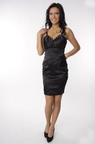 Modell 2046 Abendkleid knielang, Träger, schwarz Größe 34