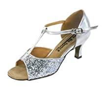 Silver glitter ballroom heel by GoGo Dance Shoes