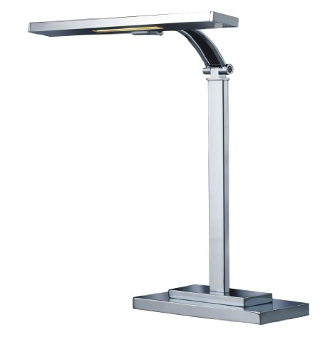 Normande Lighting HS5-2098A 3W LED Banker's Desk Lamp with Adjustable Arm and Shade, Brushed Steel