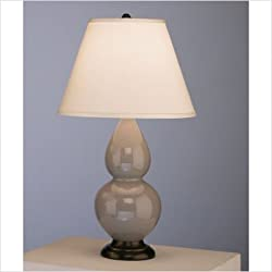 Double Gourd Lamp in Taupe Glazed Ceramic with Deep Patina Bronze Base & Pearl Dupioni Fabric Shade