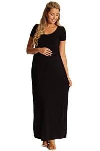 PinkBlush-Maternity-Solid-Short-Sleeve-Maxi-Dress