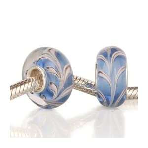 Abstract Fleur de Lis White, Brown and Blue Glass Bead with 925 Sterling Single Core