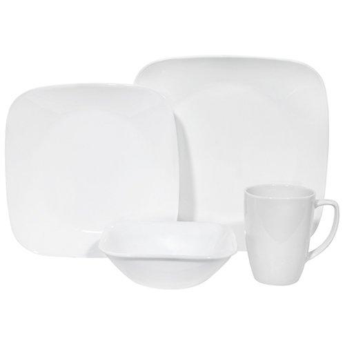 Corelle Square 16-Piece Dinnerware Set, Service for 4, Pure White