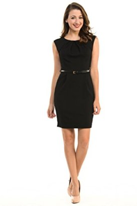 Aulin-Collection-Womens-Color-Office-Workwear-Sleeveless-Sheath-Dress