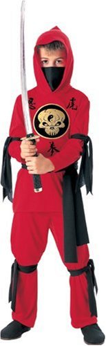 Halloween Concepts Child's Red Ninja Costume with detachable hood, Medium