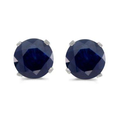 14k-White-Gold-Round-Sapphire-Stud-Earrings
