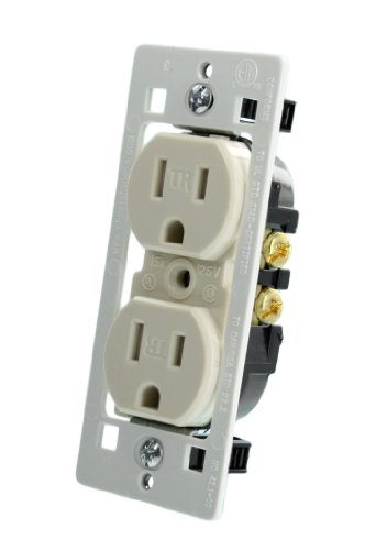 Leviton T5320-C0T Ultrasonic, Tamper Resistant, Duplex Receptacle, With Quickwire and Less Ears, Light Almond