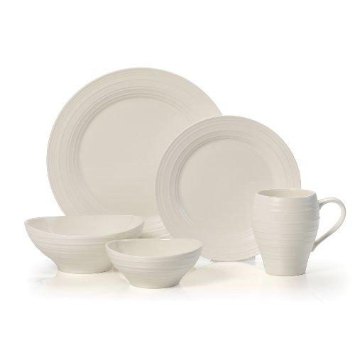 Mikasa Swirl White 20-Piece Dinnerware Set, Service for 4, White