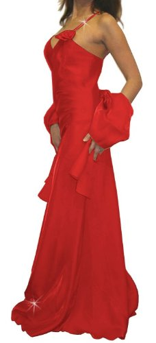 Abendkleid lang mit 1 Blume rot Größe 38
