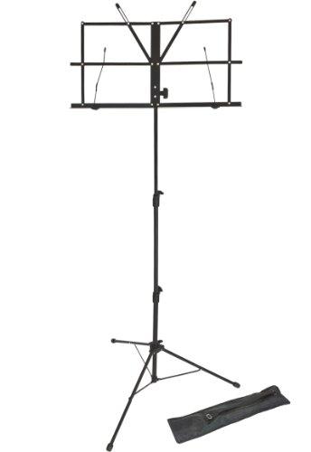 Lawrence LMS02-BK Notenständer (klappbar, verstellbar, Metall, mit Tragetasche) Schwarz