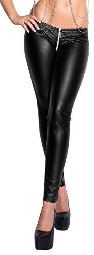 2-Wege-Reißverschluss Leggings (im Schritt) Gr. S/M M/L schwarz weinrot mit Reißverschluß Damenhose Leggings Gogo