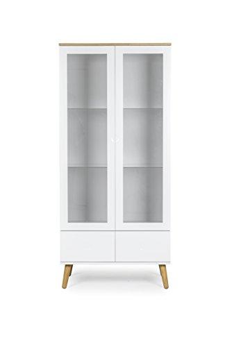 Tenzo 1670-454 Dot Designer Vitrine Holz, weiß / eiche, 43 x 79 x 178,5 cm