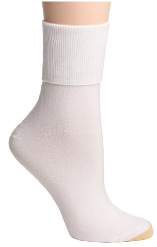 Gold Toe Women's 3-Pack 3-Pack Anklets Turn Cuff Sock, White, Size 9-11