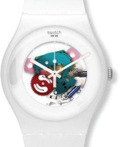Swatch SUOW100 - Reloj analógico de cuarzo unisex con correa de plástico, color blanco