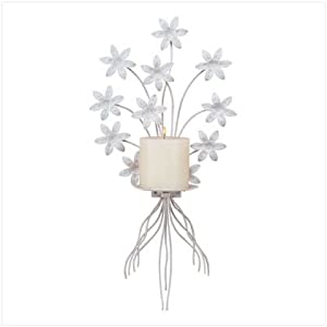 Amazon.com - White Metal Floral Flower Candle Holder Wall ... on Candle Wall Sconces With Flowers id=38658
