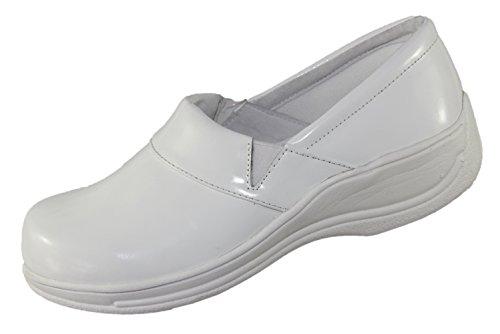 LaForst Women's Rachel Slip Resistant Comfort Fashion Slip On Patent Clog (9 B(M) US, White/White)