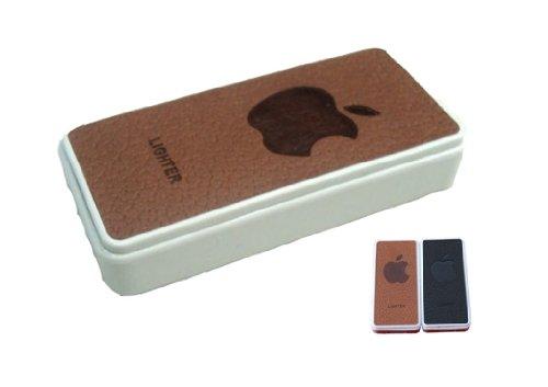 USBライター コンパクト【アダプタ一体型】合皮 ゴージャス アップルロゴ入り 2色あり USB充電 ガス不要 風に強い 並行輸入 (ブラウン)