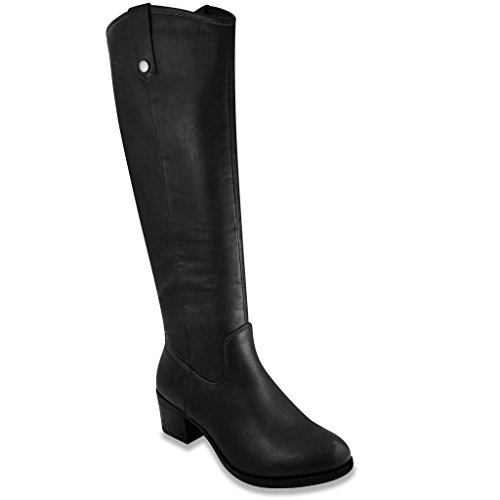 Rampage Womens Italie Riding Boot 7.5 Black Distressed