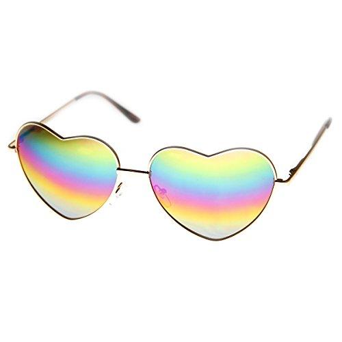 zeroUV - Womens Metal Frame Flash Mirror Rainbow Lens Heart Shape Sunglasses