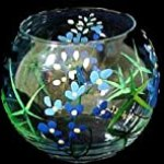 Texas Bluebonnets Design – Hand Painted – 19 oz. Bubble Ball with candle