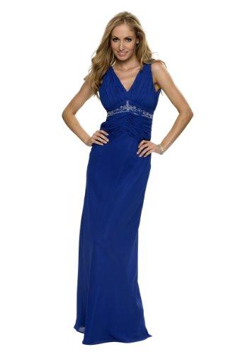 Langes Abendkleid, mit Strass, Perlen, Farbe blau, Astrapahl, Gr.44