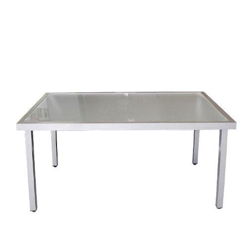 Gartentisch Glastisch Aluminium 150x90cm - Silber/Satiniert