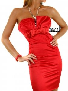 0827 - JULIA: SEXY Satin Stretch Pencil Minikleid, Rot