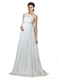 Bridess-Womens-One-Shoulder-Empire-Waist-Chiffon-Maternity-Wedding-Dress