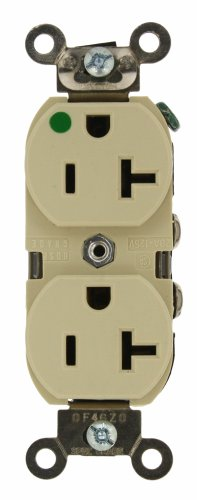 Leviton 8300-HLI 20-Amp, 125 Volt, Extra Heavy Duty Duplex Receptacle, Straight Blade, Self Grounding, Illuminated, Ivory