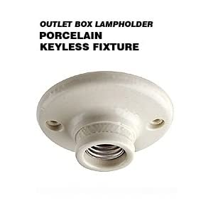 Leviton 9874 Porcelain Outlet Box Mount, Incandescent Ceiling Lampholder, Keyless, White