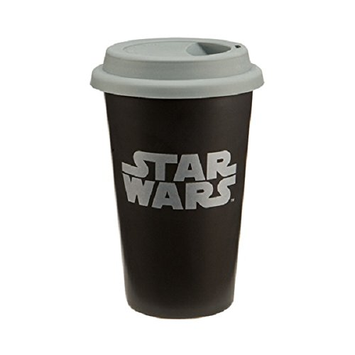Star Wars Double Wall Ceramic Travel Mug with Silicone Lid, 12-Ounce