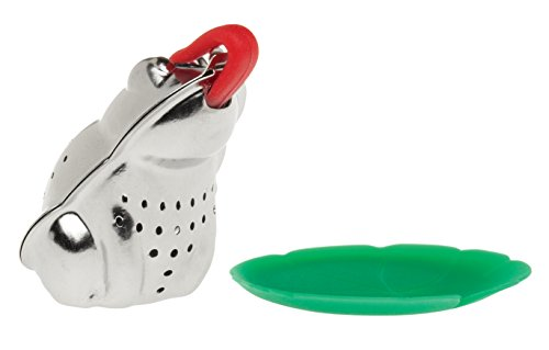 HIC Tea Infuser with Drip Tray, Frog and Lily Pad
