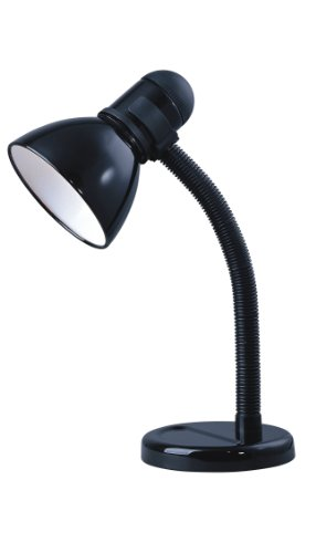 Park Madison Lighting PMD-5614-31 16-1/2-Inch Tall Incandescent Desk Lamp with Adjustable Gooseneck Column, Black Finish