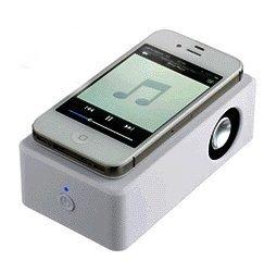 スイッチひとつで誰でもカンタン 置くだけスピーカー iPhone スマホ 用 配線不要 設定不要 MI-OWSP【ホワイト】