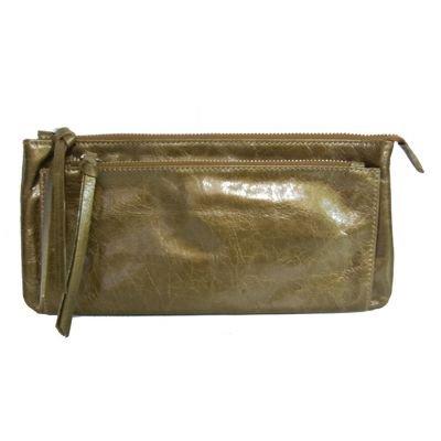 Abendtasche aus Leder, gold glänzend, ca. 26x13x3 cm, CONTEMPORARY Bags Italien
