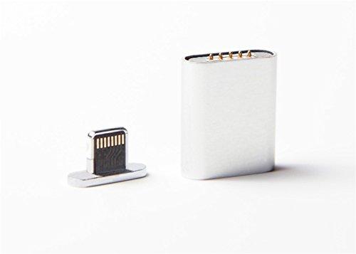 【Xberstar】iPhone 6 6s plus 5s マグネット充電変換アダプタ 着脱式 急速充電 4色あり シルバー