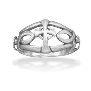 Mens Cross Ring Ichthys Christian Fish Sterling Silver , 10