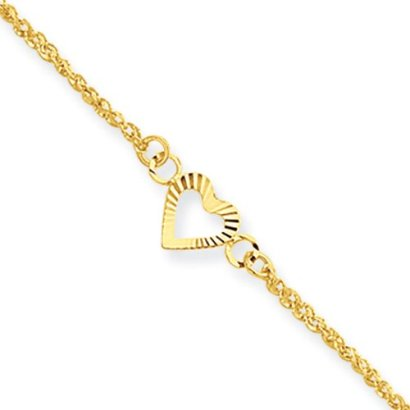 14k-Yellow-Gold-Diamond-cut-Hearts-Anklet-9-10-inch