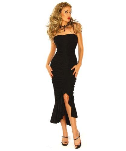 LH Dessous 10513 Schwarz Größe S-M. Elegantes langes Abendkleid mit Wasserfall-Optik und einem Voilant als Abschluss