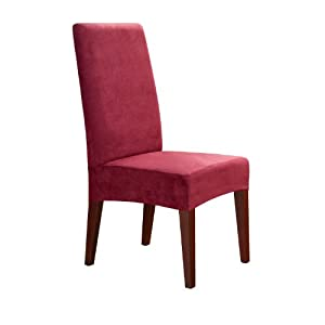 Sure Fit Soft Suede Shorty Dining Room Chair Slipcover Burgundy Home Amp Kitchen