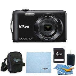 Nikon COOLPIX S3300 16MP 6x Opt Zoom 2.7 LCD 4GB Black Bundle