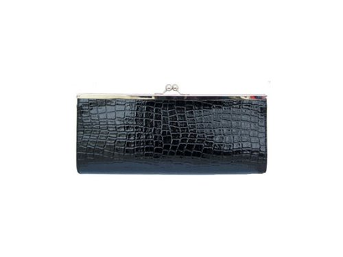 Clutch Bag Handtasche Kroko Lack Schwarz (TA164)