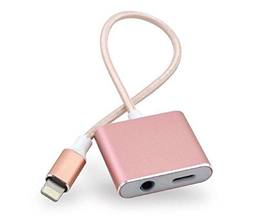 iPhone7iPhone7 Plusイヤホン変換ケーブル 3.5mm端子マイクイヤホンアダプタ IOS技術 充電可能 音楽を聞く 音量を調節可能 Lightningコネクタ  ピンク