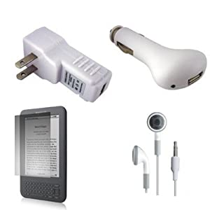 """USB Car Charger, USB Wall / Travel Charger, Earphones, and Screen Protector / Guard For Kindle Wireless Reading Device, Wi-Fi, 6"""" Display Latest Generation + Including Carrying Strap"""