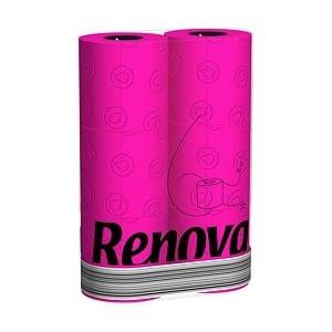 6 Pink/Fuchsia Renova Toilet Paper/Rolls