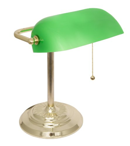 Banker's Lamp with Green Glass Shade (Brass Finish)