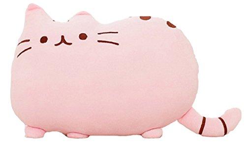 可愛すぎる 猫 クッション ふわふわやわらか 癒し 抱き枕にもなります オフィス 勉強 机 インテリア としても (4.ピンク+開運ねこちゃんストラップのセット)