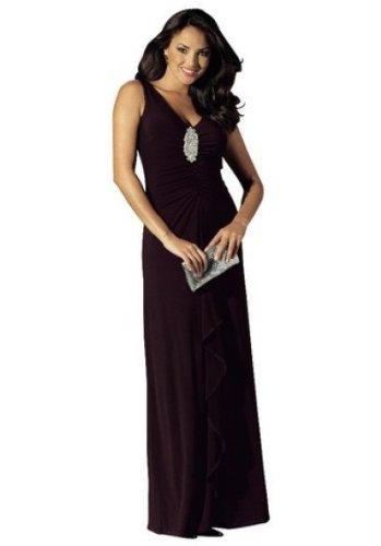 LAURA SCOTT Abendkleid mit Schmuckbrosche braun 40, Größe:40